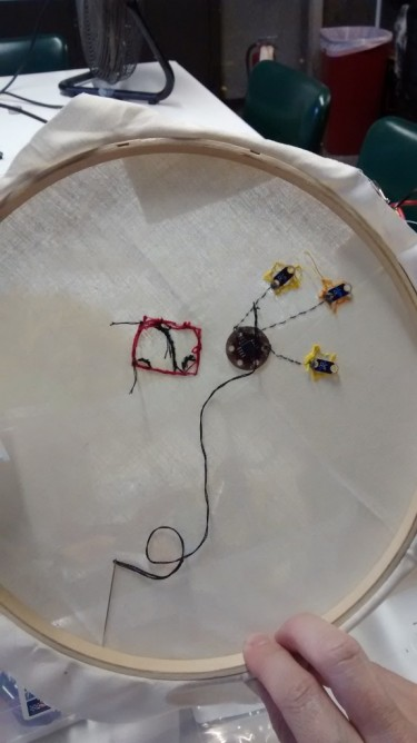The 'wrong' side of the embroidery project